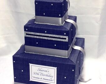 Denim & Diamonds theme Card Box
