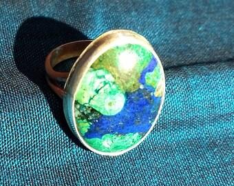 Azurite with malachite inclusion ring