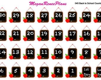 Back to School Countdown Matte Planner Stickers ECLP Erin Condren Life Planner Happy Planner Mini Happy Planner