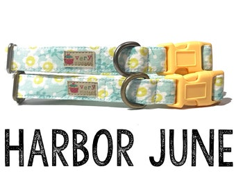 "Vintage Inspired Mint Green & Pastel Yellow Sunflowers Floral Flowers Dog Collar - Antique Metal Hardware - ""Harbor June"""