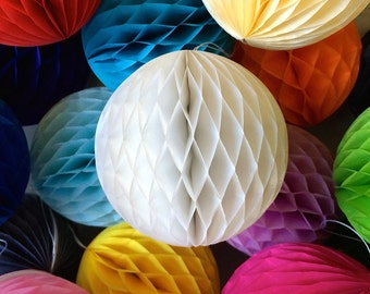 White 4 Inch Honeycomb Tissue Paper Balls - Paper Party Decor Decoration Supplies