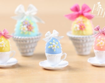 Candy Easter Egg Decorated with Blossoms in Egg Cup - Wedgwood Blue Egg - Miniature Food in 12th Scale