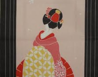 Tenugui Japanese Fabric 'Maiko Apprentice Geisha on Pink' w/Free Insured Shipping