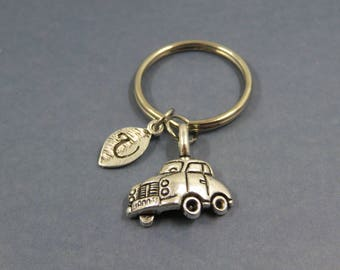 taxi car keychain - personalized car keyring - porte clé voiture automobile - initial letter - taxi car gift