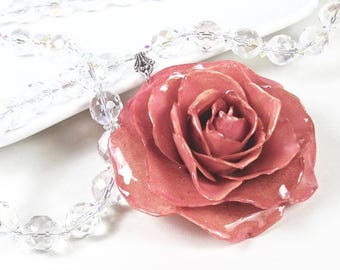 Large Real Rose Crystal Necklace - Pink, Flower Necklace, Real Flower Jewelry, Nature Jewelry, Crystal Necklace, Statement Necklace