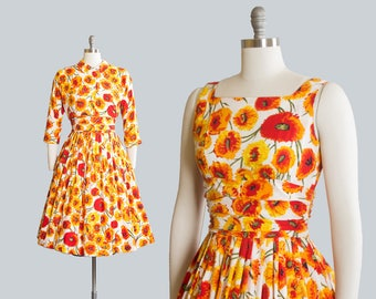 Vintage 1950s Dress Set | 50s JONATHAN LOGAN Floral Print Cotton Sundress Orange Yellow Full Skirt Day Dress Matching Bolero Jacket (small)