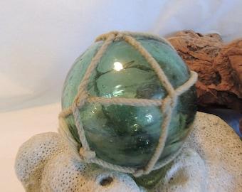Vintage Japanese Glass FISHING FLOAT. Net, Many Bubbles, Olive Green  (#46)
