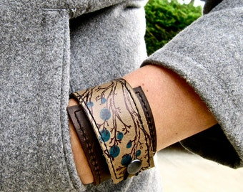 Leather Cuff Wrap Bracelet, Twiggy Print & Olive Taupe, Adjustable Size, * SALE * Coupon Codes