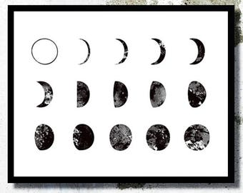 Moon watercolor print Moon print Galaxy poster Moon Phases poster Cosmic poster Astrology art Moon bedroom art Moon nursery art