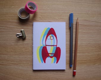 Rocket Design Multi Coloured Screen Printed Blank Page Handmade Notebook - 40 pages (80 sides)