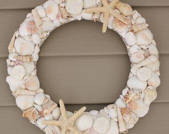 Shell Wreath Seashell Wreath Beach Wedding Wreath Beach Decor Coastal Decor Coastal Wreath Beach Wedding Gift Starfish Wreath Beach Lover