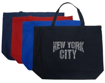 Large Tote Bag - Created using some of Manhattan's most popular New York Neighborhoods