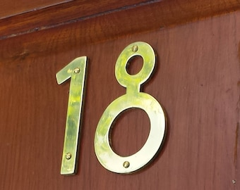 """Brass house numbers letters Mission Mackintosh style -  75mm/3"""" or 4""""/100mm high cutout. handmade in polished or hammered finish g"""