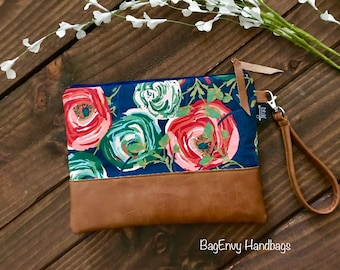 Grab N Go Wristlet Clutch - Floral Fusion with Vegan Leather