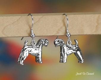 Kerry Blue Terrier Earrings Sterling Silver Pierced Fishhook Earwires