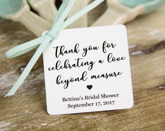 Thank you Tags - A love beyond measure - Wedding Favor Tags - Bridal Shower Tags - Wedding Gifts - Custom Tags - 36 Pieces