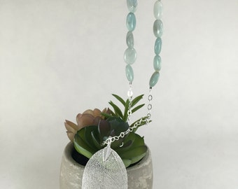 Silver Leaf Beaded Necklace