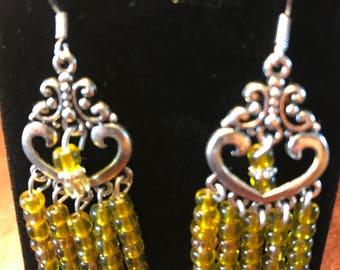 Chandelier earrings yellow glass beads