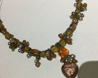 Honey Amber/Murano Glass Statement Necklace