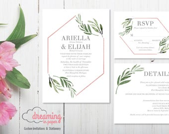 Geometric Greenery Rose Gold Modern Wedding Invitation Set