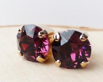 Amethyst Swarovski Stud Earrings, Purple Crystal Rhinestone Rose Gold Studs, Rose Gold Round, Diamond Cut, Gift for Her, Bridesmaid Gifts