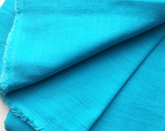 cotton double gauze fabric. soft japanese pure cotton fabric. 102cm (40in) wide. sold by 50cm (19in) long / half yard. cyan blue