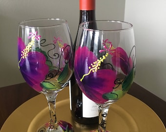 Vintage Hand Painted Wine Goblets Floral Set/2