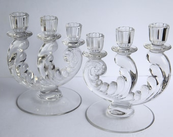 Vintage Pressed Clear Glass Candle Holders ~ 3 tier Candelabra Retro Candlesticks Set of Two