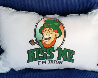 Kiss Me I'm Irish-Upcycled Safe-Sex Pillow, w/ Condom & Lube Pockets, White, Green, leprechaun, pipe, OOAK