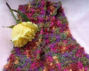 Knitted Scarf Multi Color Viscose Chenille Hand Dyed Yarn