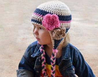 girls winter hat, girls hat, newborn girl hat, baby girl hat, girls hat, kids hat, toddler hat, , little girls hat, navy blue hat, baby hat