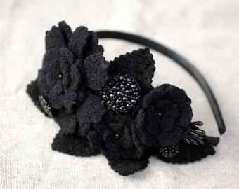 Haarreif schwarz Fascinator Wolle Winter opulent Frida Kahlo Ethno Hippie Boho Style boheme Haarschmuck headpiece Gothik viktorianisch