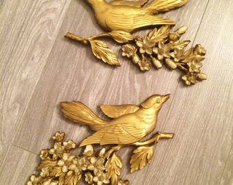 Gold Bird Wall Hanging, Vintage Bird Decor, Mid Century Wall, Bird Cherry Blossom, Gold Syroco Bird Decor