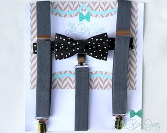 Black Bow Tie Suspenders, Kids Wedding Bow Tie Suspenders, Ring Bearer Outfit, Black Bow Tie Suspenders, Boys Formal Wear, Kids Suspenders