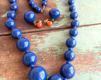 Vintage Large Blue Beaded Necklace With Matching Blue Orange Green Ball Earrings MOD Retro