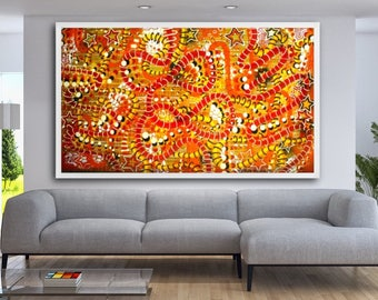 "FREE SHIPPING original 57"" x 96"" large abstract orange color surreal pop art street art painting"