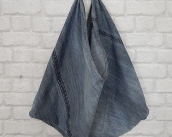 Zero Waste Shopping Bag Triangle Bag Recycled Denim and Leather