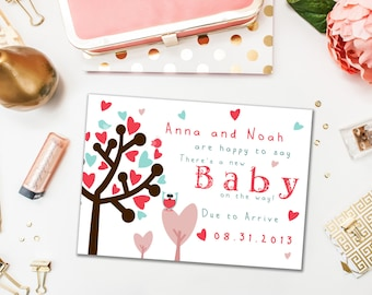 Pregnancy Announcements / Baby on the Way / Baby Owls and Trees with Hearts / Pink and Blue, Gender Neutral / Digital or Printed Cards
