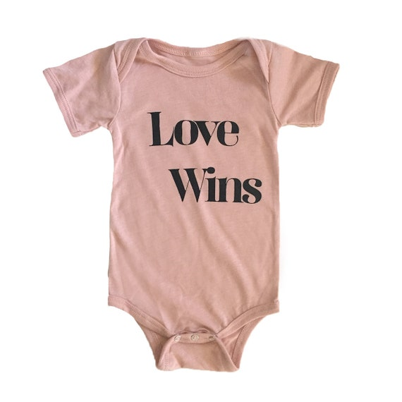 LOVE WINS Baby Bodysuit - Pink
