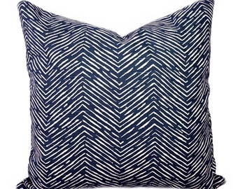 Navy Herringbone Throw Pillow Cover, Navy and White Pillow Cover, Chevron Pillow, Cameron Navy Pillow Cover, Chevron Pillow, Navy Chevron