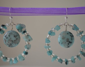 Turquoise and clear glass hoop earrings