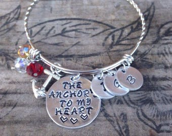 The anchors to my heart~ Mothers bracelet~ kids initials bracelet~ Gift for mother~ Hand stamped~ Personalized