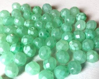 8mm Faceted Round Mint Green Czech Glass Beads