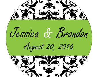 180 - 1.5 inch Personalized Glossy Wedding Stickers Labels - many designs to choose from - change designs to any color or wording WR-022