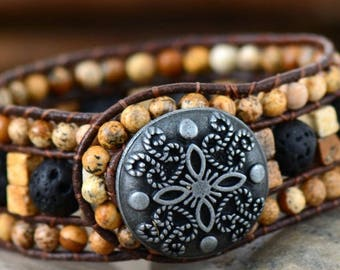 Leather  Wrap  Bracelet Natural Stone Boho Beaded Cuff Bracelet Handmade Bracelet Statement