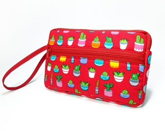 Cactus Print zipper pouch, Wristlet wallet, Cosmetic bag, Cell phone bag, iPhone wallet case, Red wristlet
