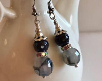 Agate & Onyx Earrings-Gemstone Drop Earrings