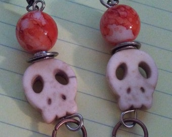 Orange Skull Drop Earrings