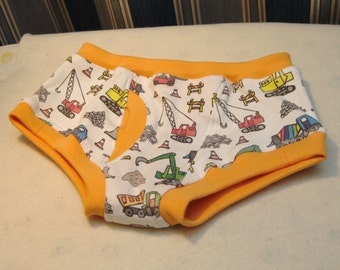 Construction equipment organic boys briefs, toddler underwear and training pants, print with cement trucks, backhoes, cranes, etc.