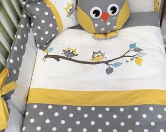 baby bedding set  neutral,owl,yellow,grey